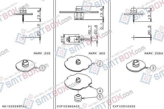 PANASONIC CM212 CM400 CM401 CM402 CM602 nozzle Part No.N610000995AA KXFX03NGA00 KXFX05V2A00 side a