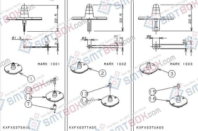 PANASONIC CM212 CM400 CM401 CM402 CM602 DT400 DT401 nozzle Part No.KXFX037SA00 KXFX037TA00 KXFX037UA00 side a