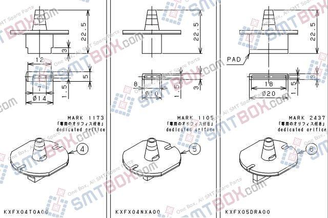 PANASONIC CM212 CM400 CM401 CM402 CM602 DT400 DT401 nozzle Part No.KXFX04T0A00 KXFX04NXA00 KXFX05DRA00 side a