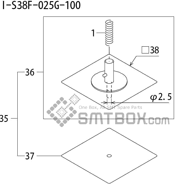 FUJI QP 242E 10 QP 242E(10JE) Nozzle Part No.ABHPN8625 Rating I S38F 025G 100 side a