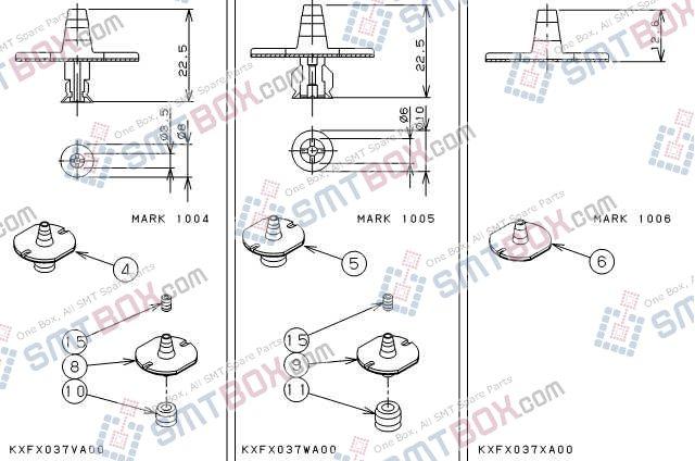 PANASONIC CM212 CM400 CM401 CM402 CM602 DT400 DT401 nozzle Part No.KXFX037VA00 KXFX037WA00 KXFX037XA00 side a