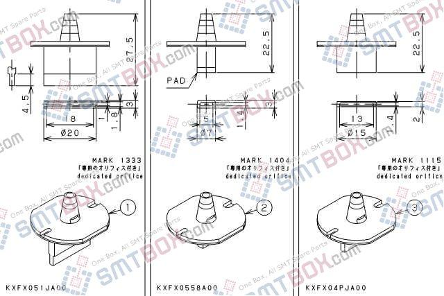 PANASONIC CM212 CM400 CM401 CM402 CM602 DT400 DT401 nozzle Part No.KXFX051JA00 KXFX0558A00 KXFX04PJA00 side a
