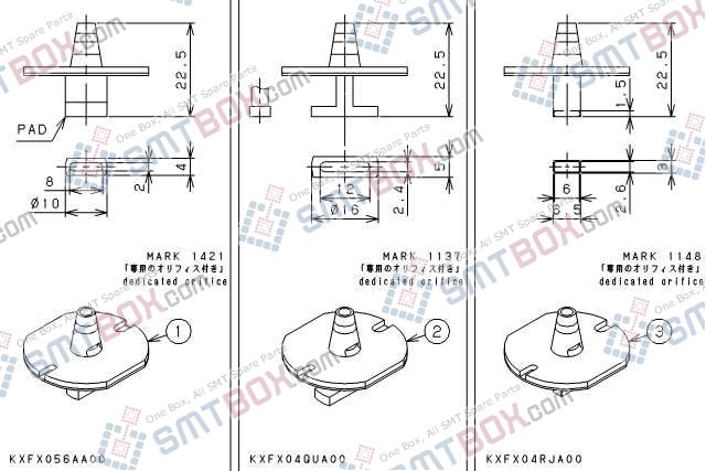 PANASONIC CM212 CM400 CM401 CM402 CM602 DT400 DT401 nozzle Part No.KXFX056AA00 KXFX04QUA00 KXFX04RJA00 side a