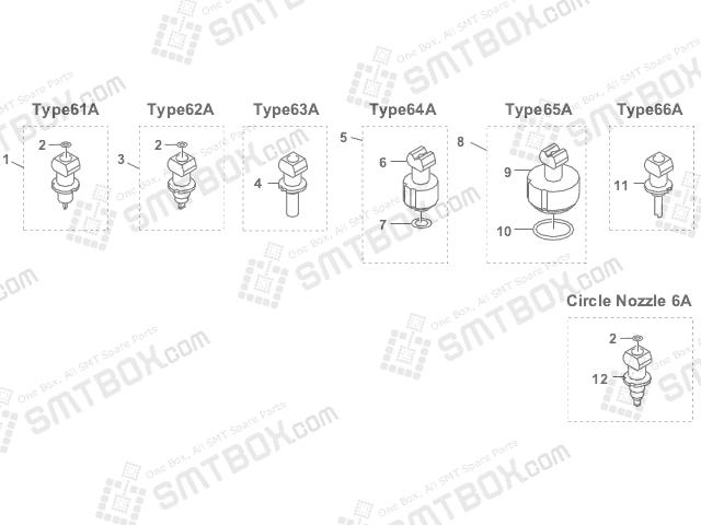 Yamaha YV88XG SMT SMD Nozzle KV7 M7710 A1X KV7 M7720 A1X KV7 M7730 00X KV7 M7740 A0X KV7 M7750 A0X KV7 M7760 00X 61A 62A 63A 64A 65A 66A