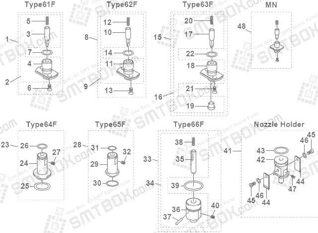 Yamaha YV88X Philips Assembleon EMERALD X SMD SMT Nozzle KV7 M71N1 A0X KV7 M71N2 A0X KV7 M71N3 A0X KV7 M71N4 A0X KV7 M71N5 A0X KV7 M87GF A0X 61F 62F 63F 64F 65F 66F