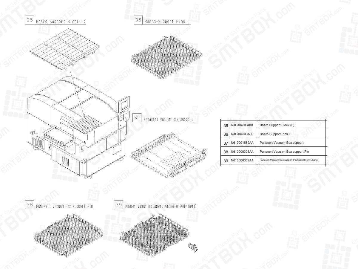 Board Support Block / Pins & Panasert Vacuum Box support / Pins For Panasonic SP60P-L High Speed Screen Printer
