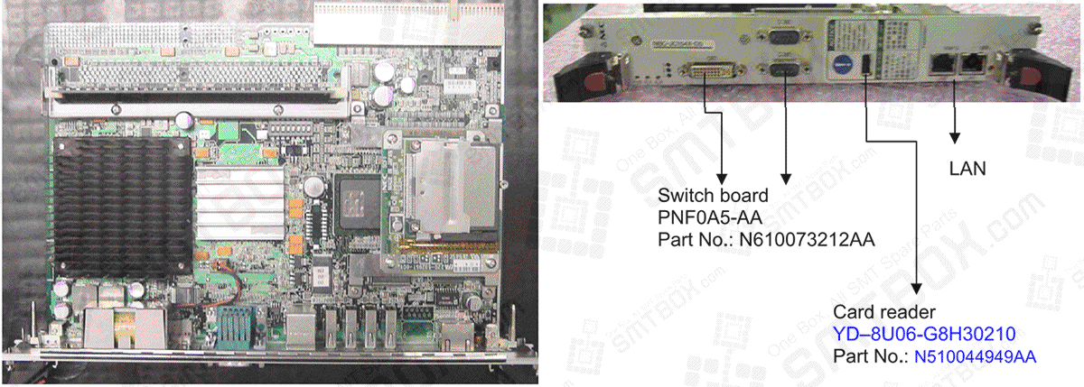 Name: Compact PCI board computer (Model: NBC-JC154X-D5// Part No.: N510029992AA)   Switch board PNFOA5-AA Part No.: N610073212AA Card reader YD-8U06-G8H30210 Part No.: N510044949AA
