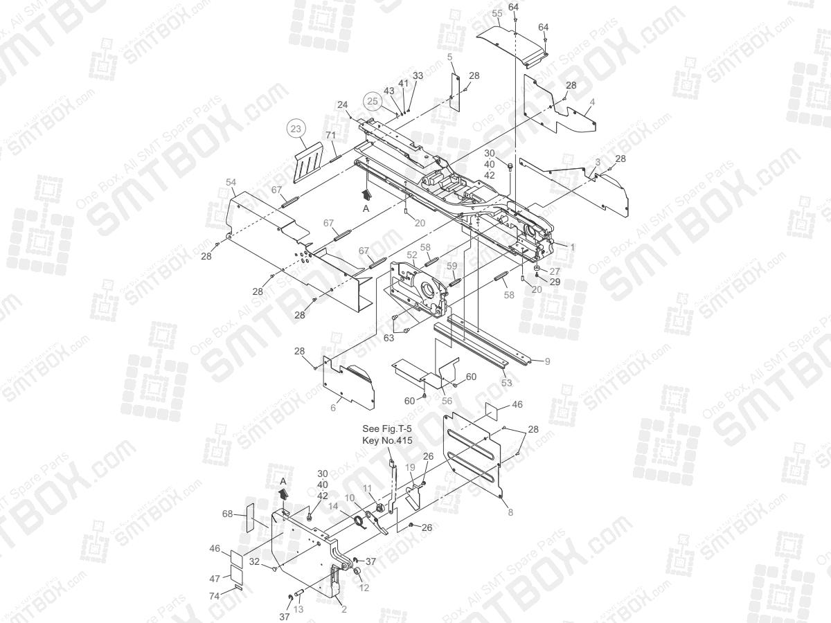 Frame Section on Hitachi Yamaha SMT Tape Feeder 72mm GT-72001B GD-72001B