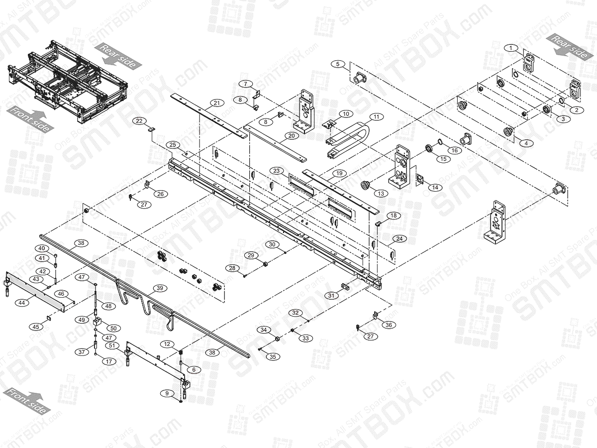 Large Conveyor (3/7) Front Move On Hanwha Techwin Excellent Modular EXCEN PRO (D) (M) (L) SMT Component Placer