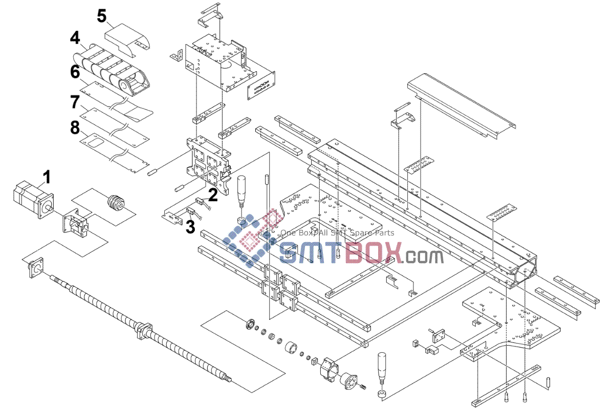 Maintenance Parts List for X-Axis of Moving-Axis on Yamaha HSDXg High-End Dispenser