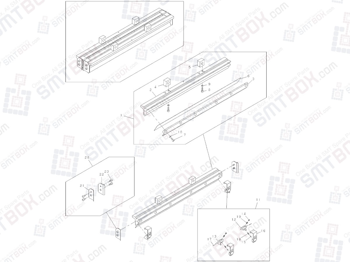 Panasonic SP18P-L NM-EJP1A Screen Printer Advanced Metal Squeegee Set Length 480mm For SP18 N610074532AA