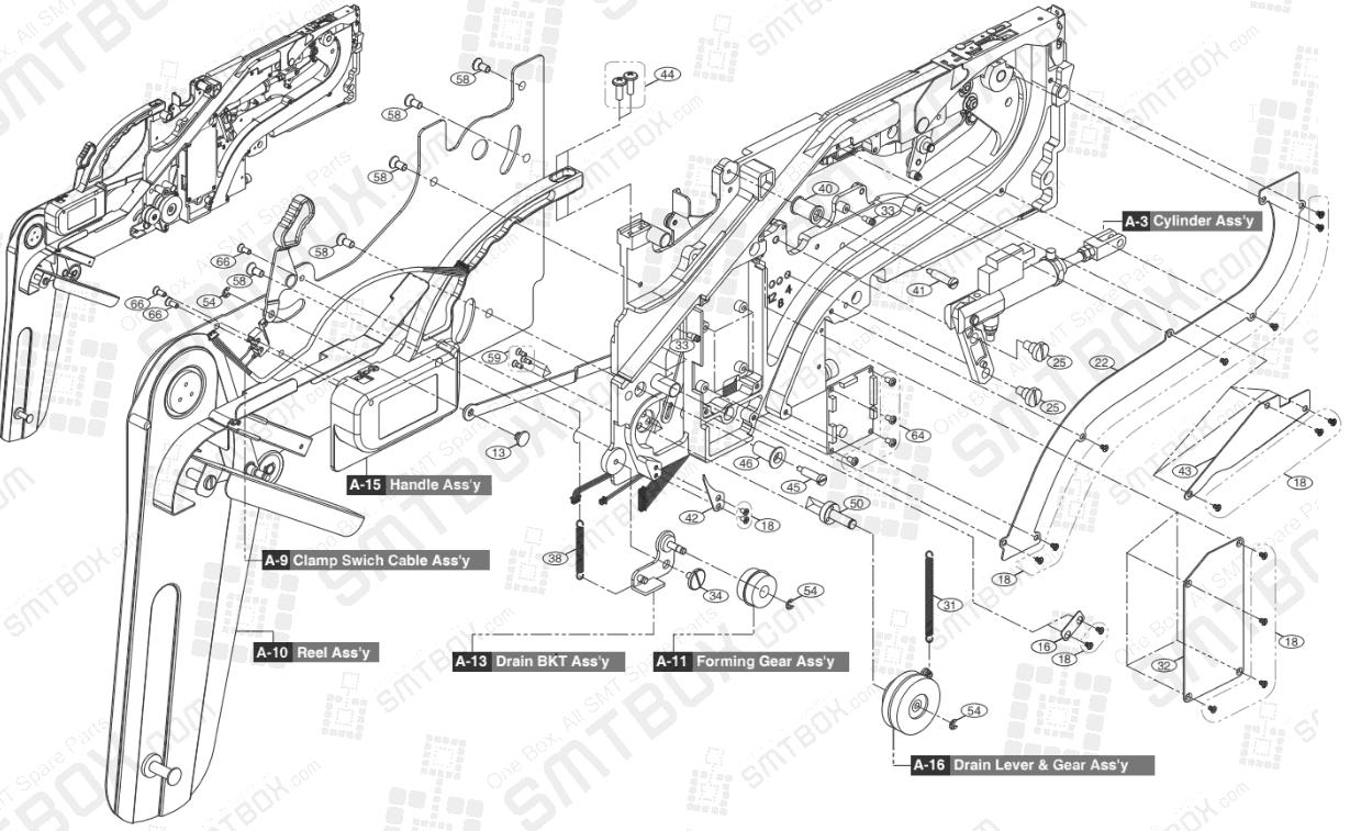 Part list of Hanwha Samsung Techwin 12mm SMN Tape Feeder SM DECAN IT: SBFB33000K NonIT: SBFB33100K side b
