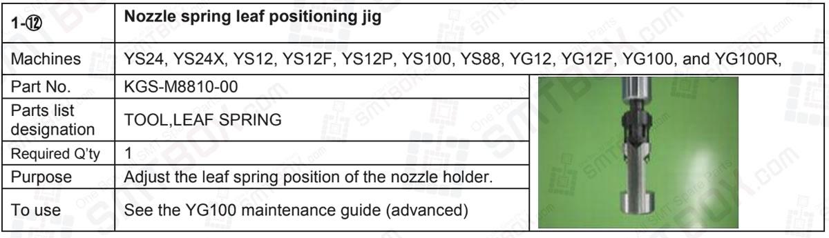 Yamaha YS24, YS24X, YS12, YS12F, YS12P, YS100, YS88, YG12, YG12F, YG100, and YG100R Nozzle Spring Leaf Positioning Jig