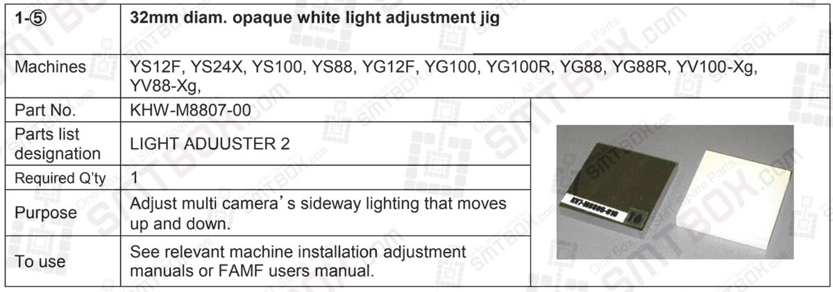 32mm Diameter Opaque White Light Adjustment Jig for Yamaha YS12F, YS24X, YS100, YS88, YG12F, YG100, YG100R, YG88, YG88R, YV100-Xg and YV88-Xg