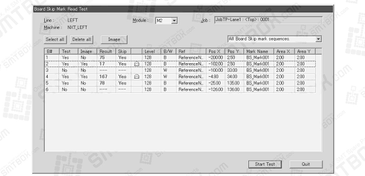 6.7 Testing Skip Mark Data In The Job Of 6. Editing Jobs on the Machine on FUJI NXT