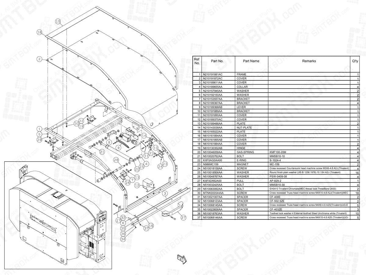 Panasonic NPM-D3 Whole Cover N610160758AA KN610160758AA-15-2