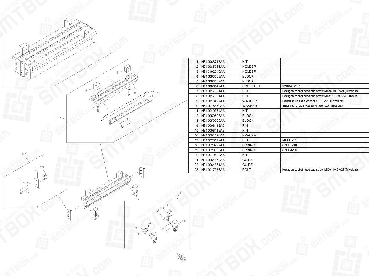 Panasonic SP18 Screen Printer Advanced Plastic Squeegee Set (L=270) N610068716AA