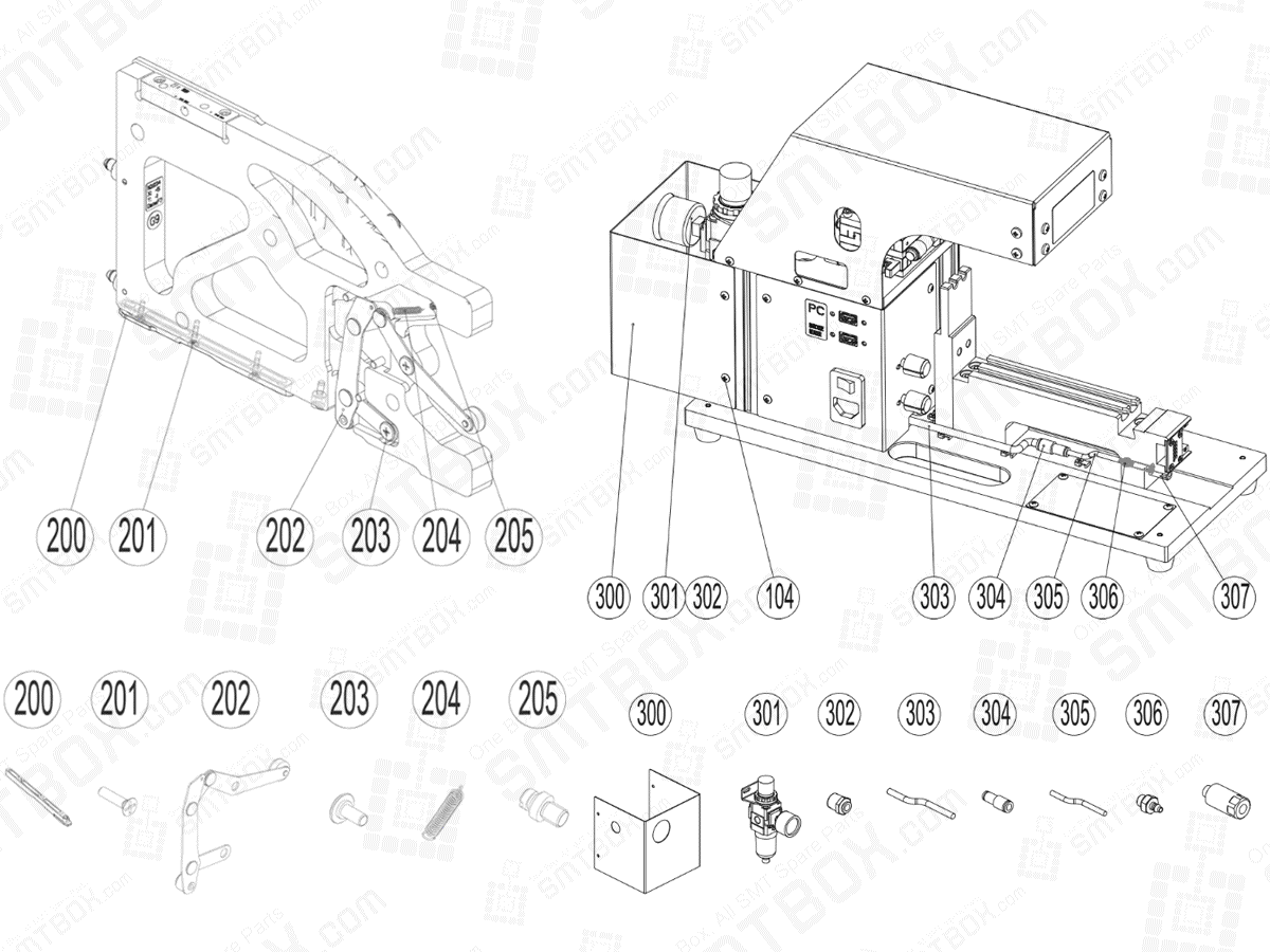 Service Part List of Calibration Jig For Hanwha Techwin SME Feeder side c