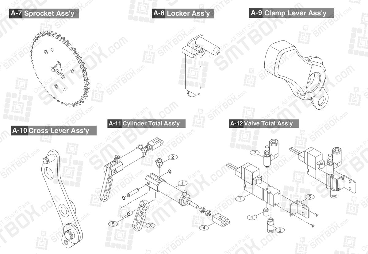 Sub Part List of Hanwha Samsung Techwin 44mm SMN tape feeder SM DECAN NonIT SBFB34120K IT SBFB34020K part 2