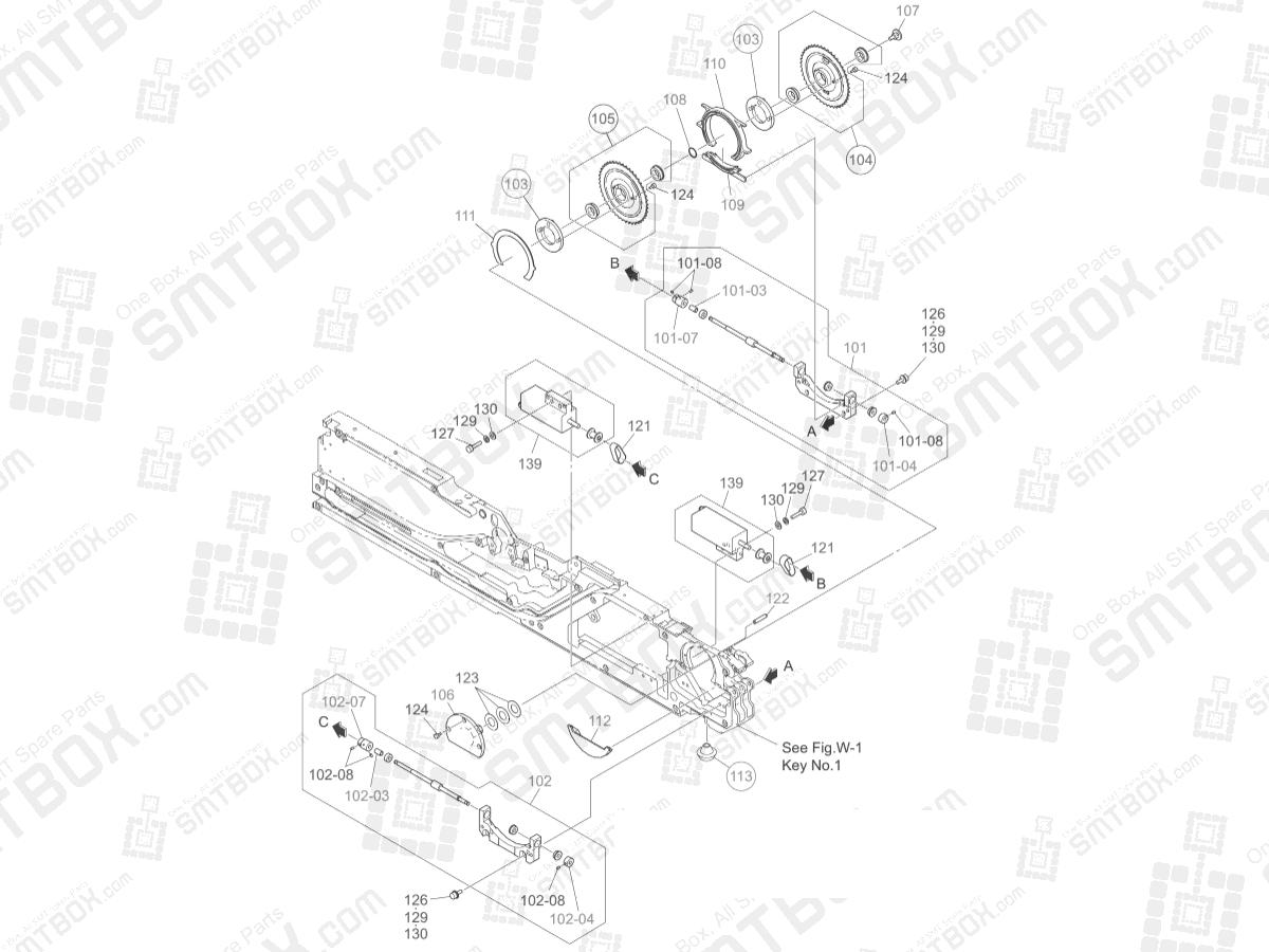 Tape Driving Section: Hitachi SMT Tape Feeder Part List of GT-18080B, 18081B, 18082B, 18083B